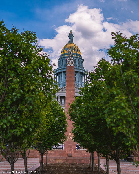Centered Colorado State Capitol and Obelisk Monument in Denver