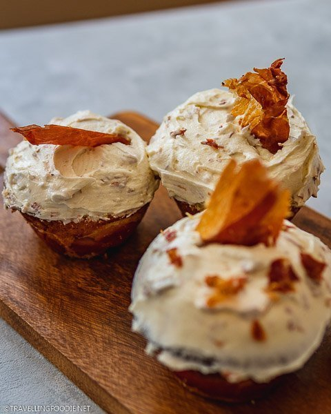 Three Savoury Prosciutto and Cheese Cupcakes with Buttercream
