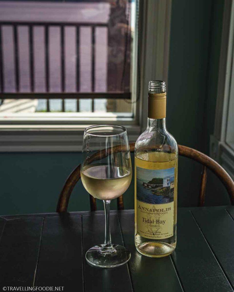 Annapolis Highlands vineyards Tidal Bay Wine 2016 at Argyler Restaurant in Argyle, Nova Scotia
