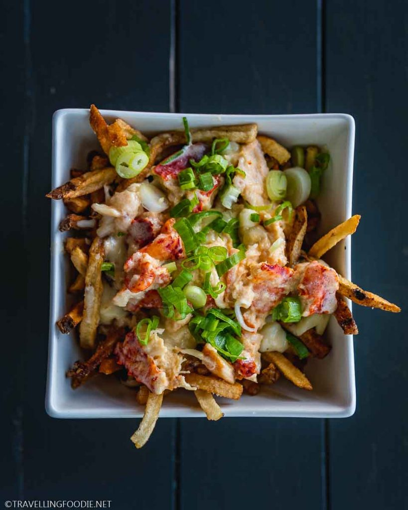 Creamed Hot Lobster Poutine at Argyler Lodge in Argyle, Nova Scotia