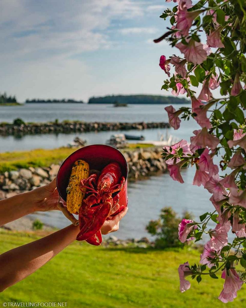Lobster Dinner with view of Lobster Bay and Flowers at Argyler Restaurant in Argyle, Nova Scotia