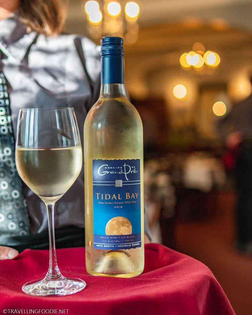 Tidal Bay White Wine at Blomidon Inn Restaurant in Wolfville, Nova Scotia