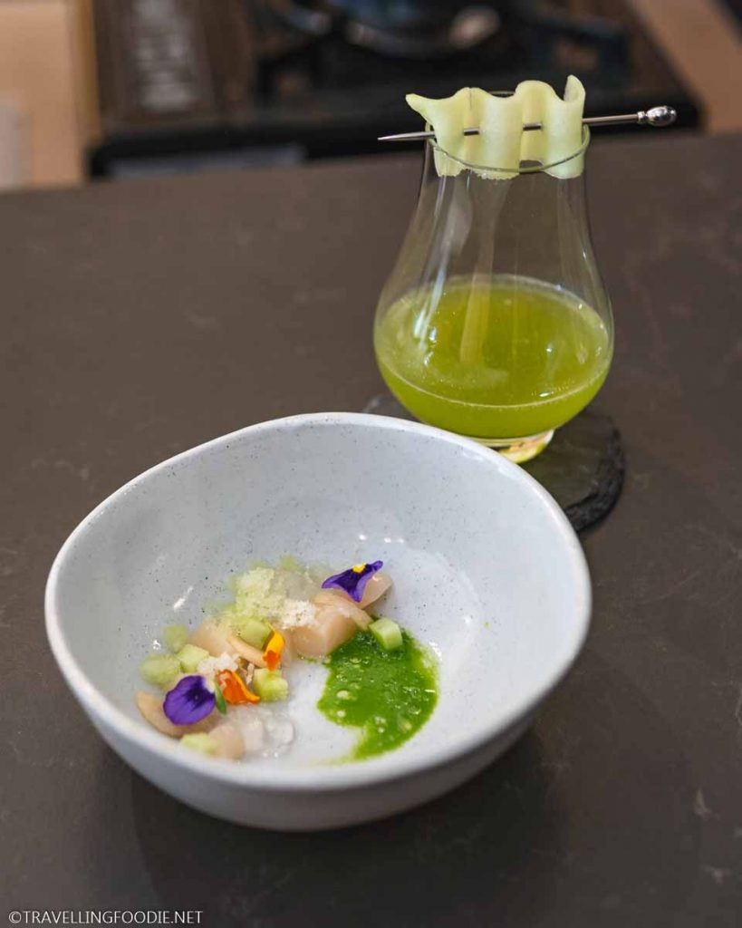 Scallop Course with Cucumber Lemonade at Frilu