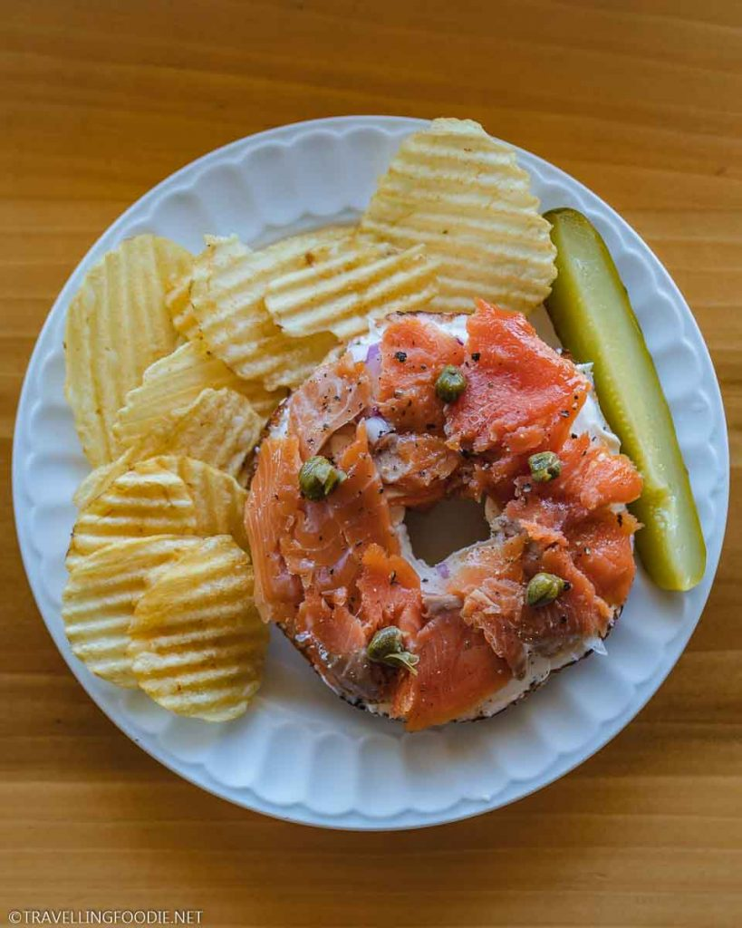 Smoked Trout on Bagel at LaHave Bakery in Lunenburg, Nova Scotia