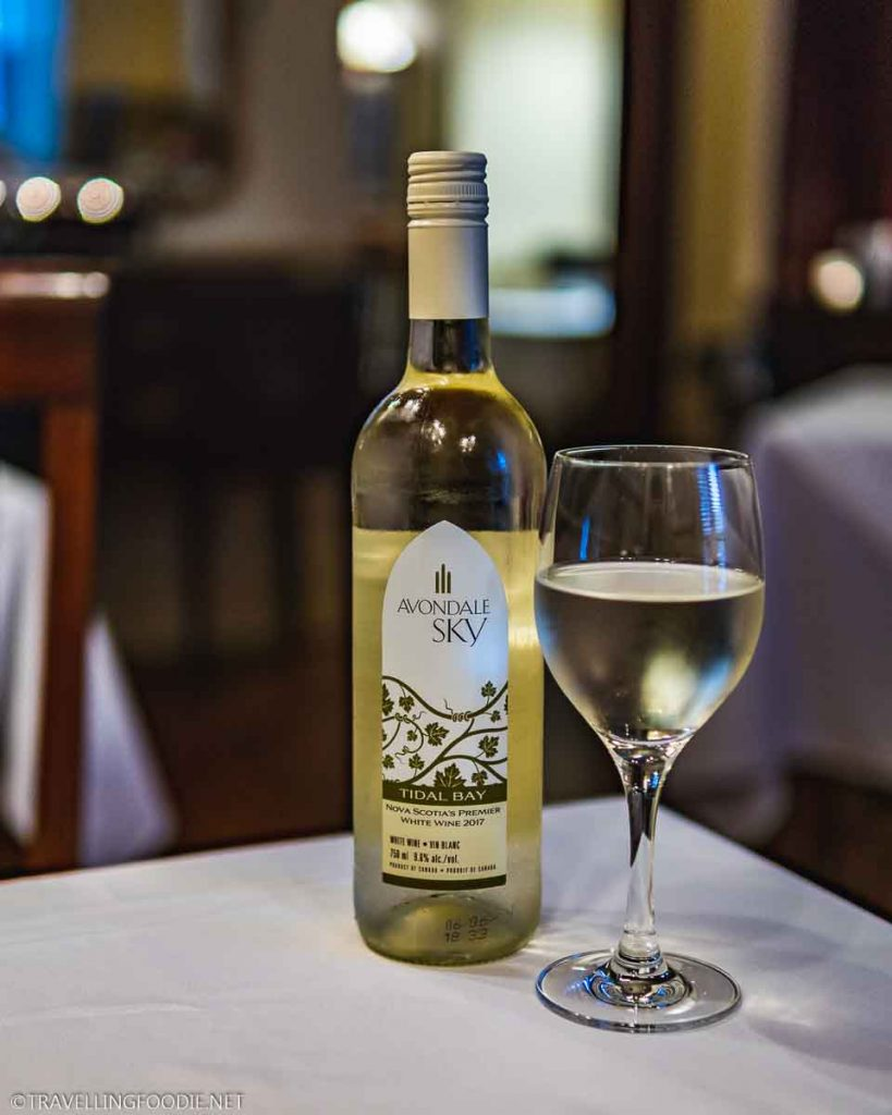 Avondale Sky Tidal Bay Wine at Stories Fine Dining in Halifax, Nova Scotia