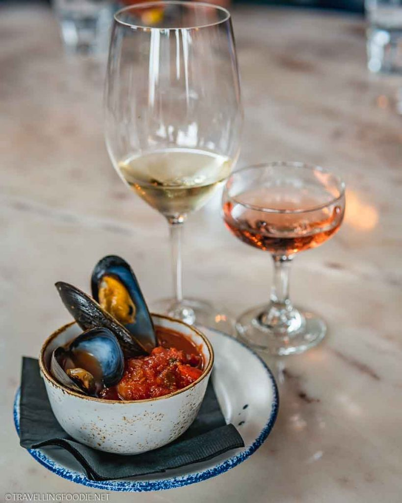 Seafood Stew, Tidal Bay Wine and Rose Wine at The Mercantile Social in Halifax, Nova Scotia