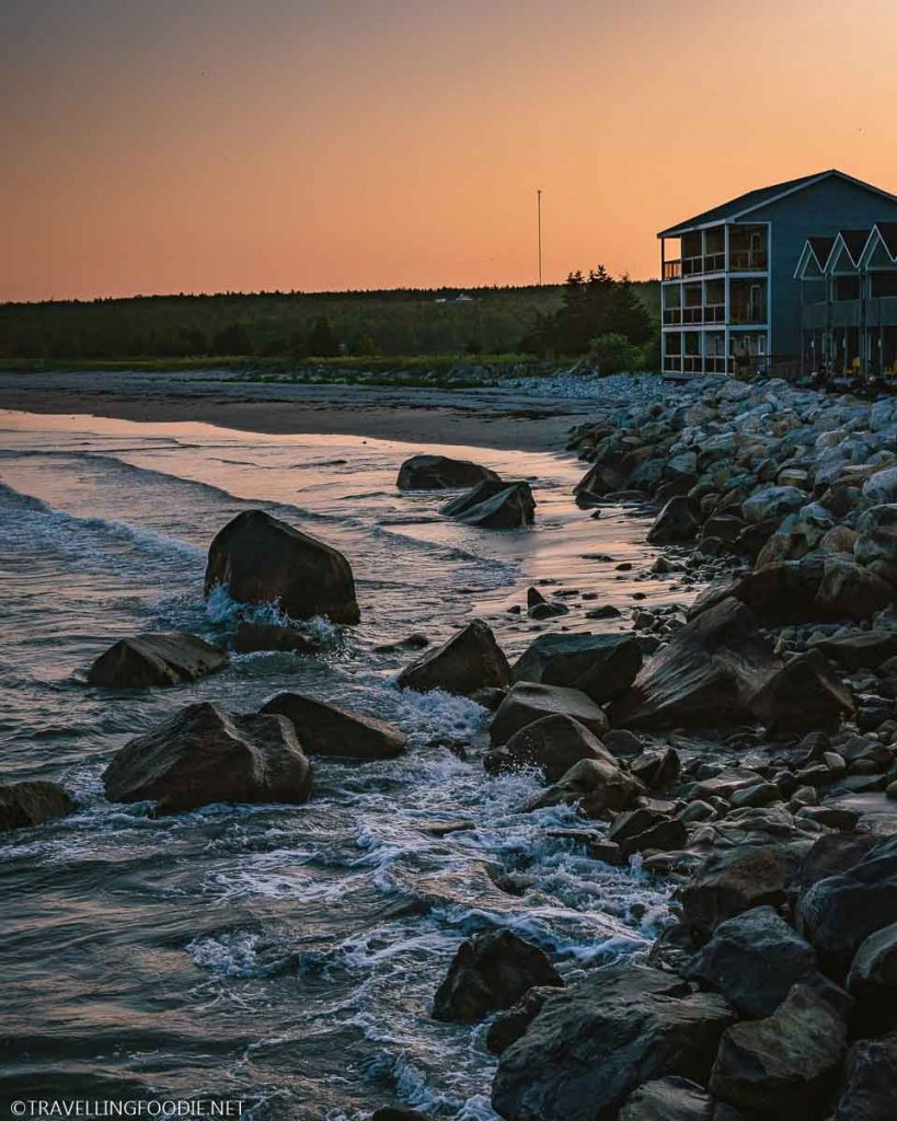 The Quarterdeck Beachside Villas during sunset in Summerville Centre, Nova Scotia