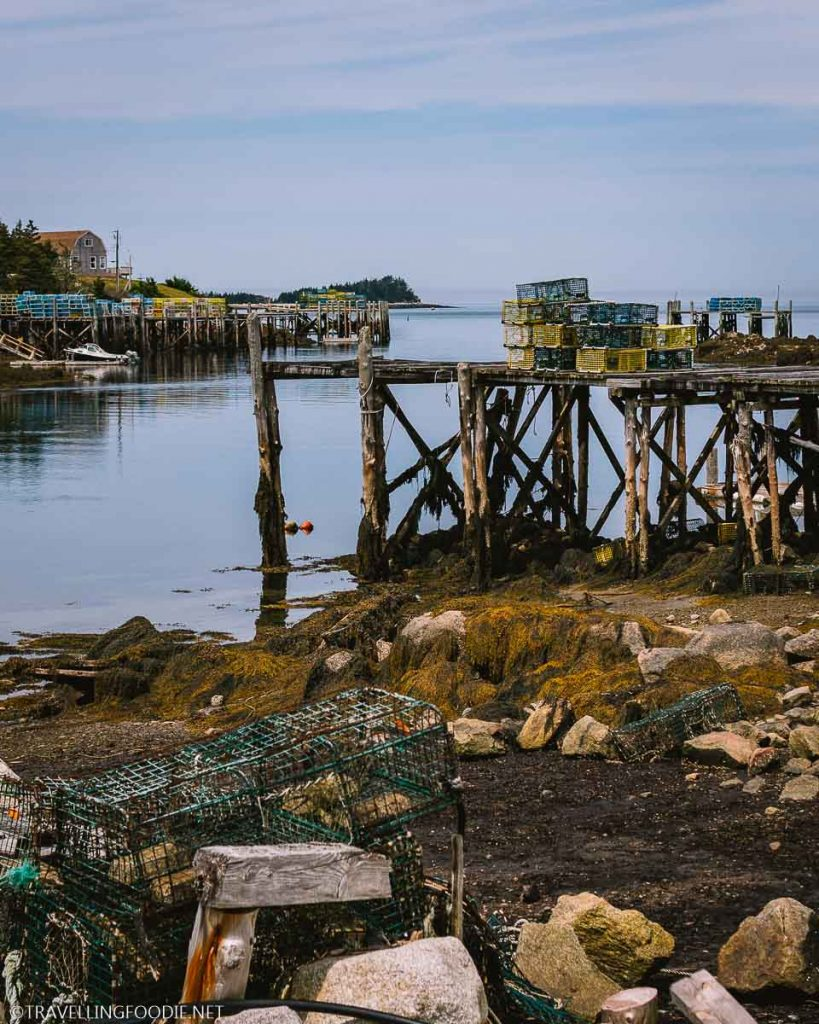 The Dock and Lobster Traps at Big Tusket Island in Yarmouth, Nova Scotia