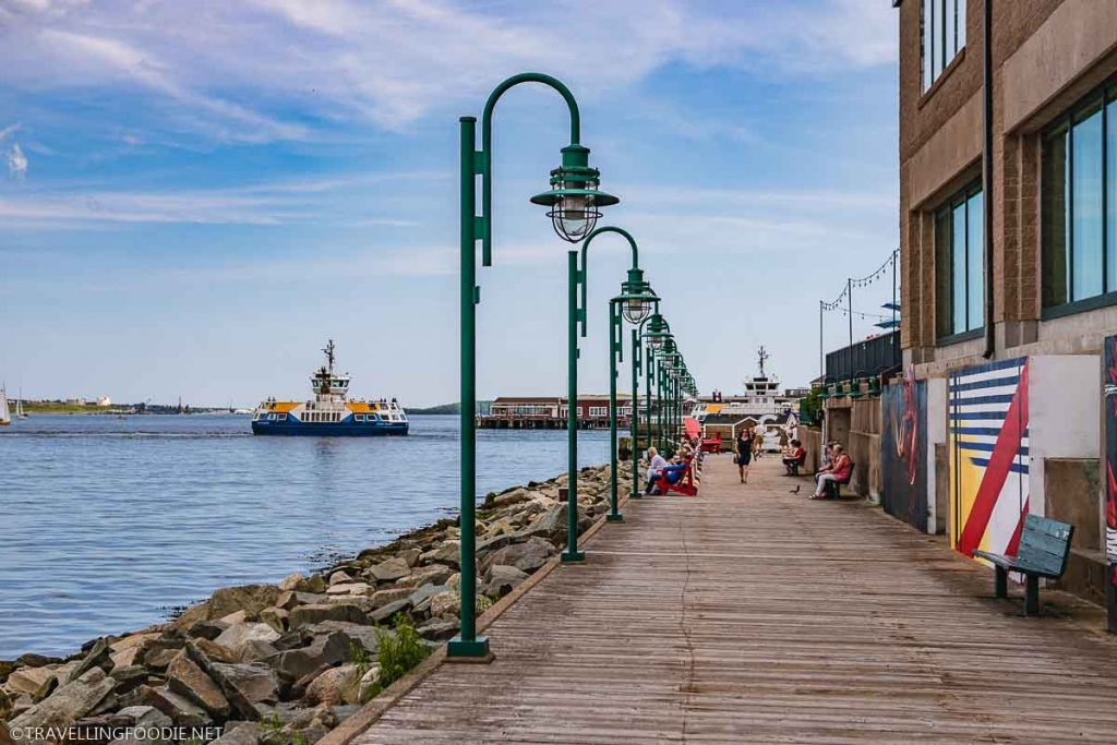View of Halifax Boardwalk with Boats and Lamp Posts