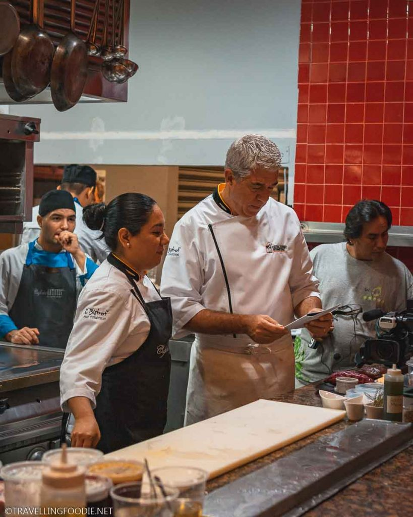 Chef Thierry Blouet in the kitchen at Cafe des Artistes in Puerto Vallarta, Mexico