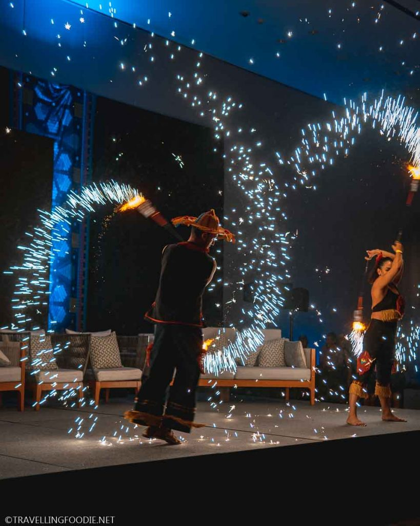 Two Dancers with Sparklers at Puerto Vallarta Festival Gourmet International