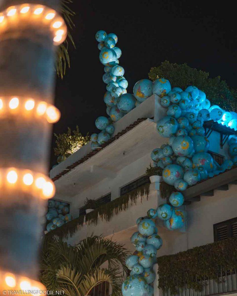 Globe Art Installation at Night in Puerto Vallarta, Mexico
