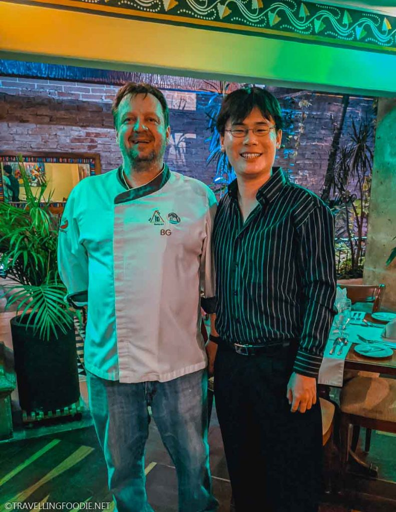 Chef Bernhard Güth with Travelling Foodie Raymond Cua at Trio Restaurant in Puerto Vallarta, Mexico