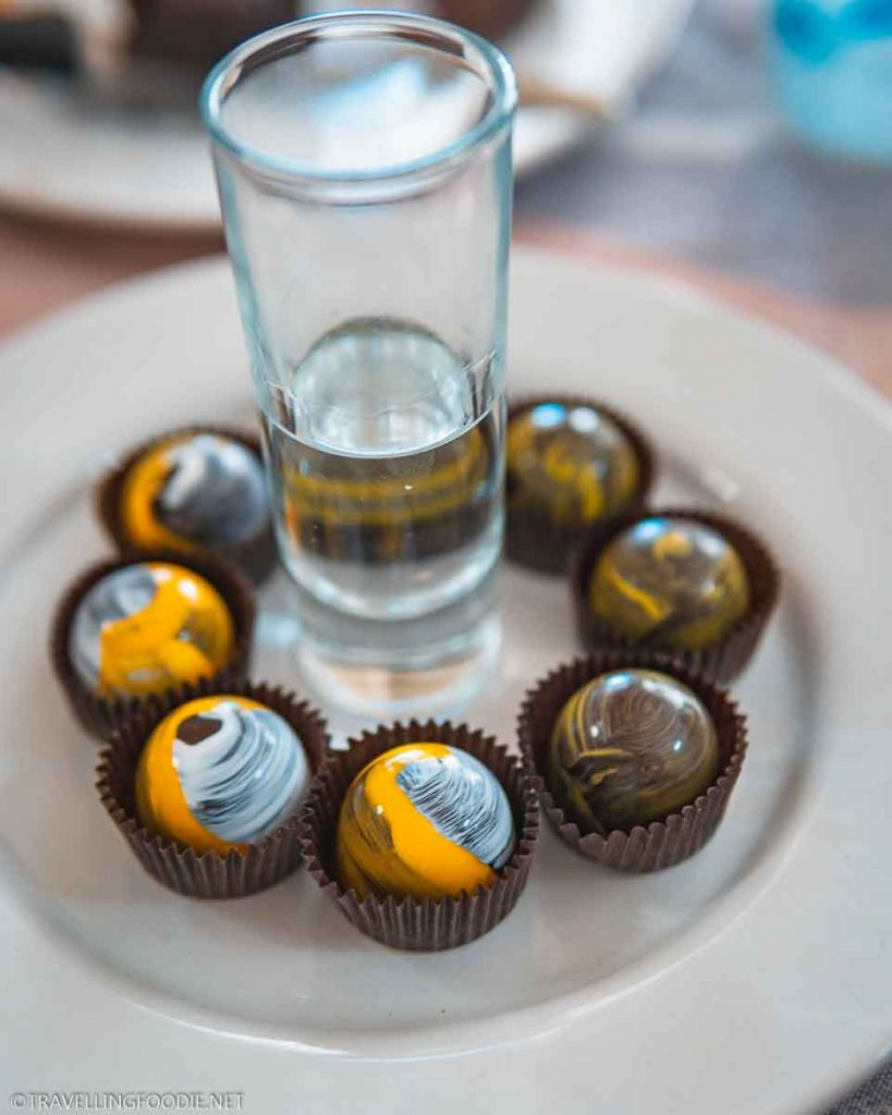 Limoncello and Key Lime Truffle with Shot of Tequilla Blanco from Xocodiva Cult of Chocolates