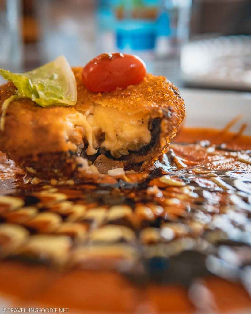 Opened Fried Portobello stuffed with Shrimp and Goat Cheese at Roberto's Super Seafood in Puerto Vallarta, Mexico