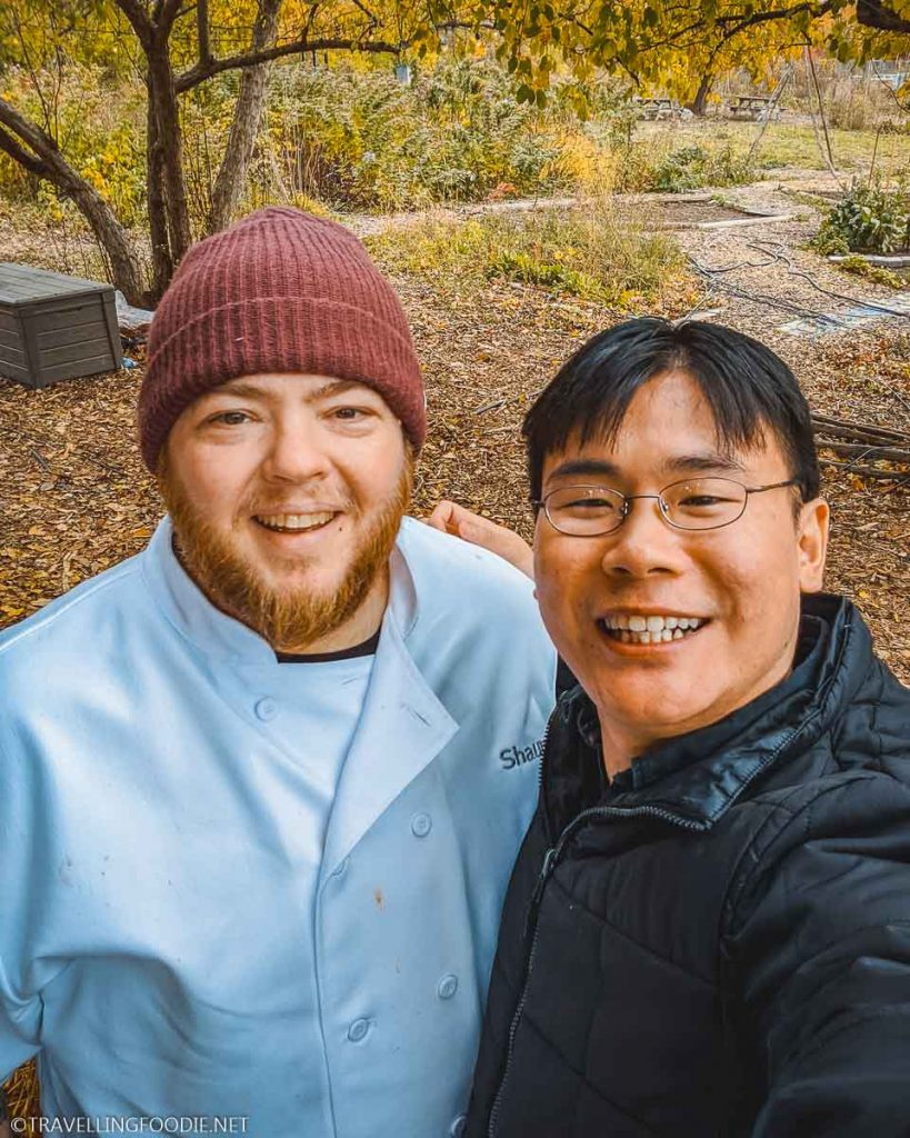 Chef Shaun Hussey and Travelling Foodie Raymond Cua at Black Creek Community Farm in Toronto