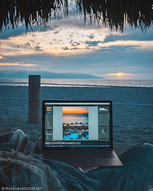 Microsoft Surface Laptop 3 on beach chairs at Sheraton Buganvilias Resort in Puerto Vallarta, Mexico