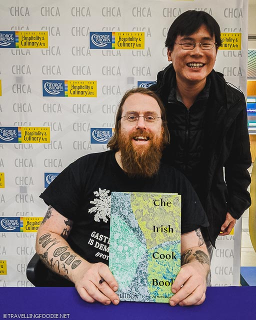 Michelin Chef JP McMahon and Travelling Foodie Raymond Cua with The Irish Cook Book signing at George Brown College in Toronto, Ontario