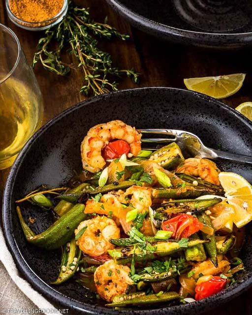 Cajun-Style Charred Okra and Shrimp