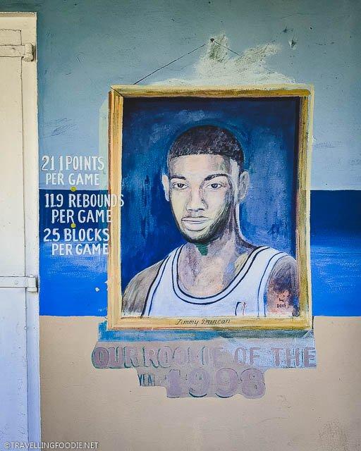Tim Duncan Mural outside Harvey's Restaurant in Christianstead, St. Croix, US Virgin Islands
