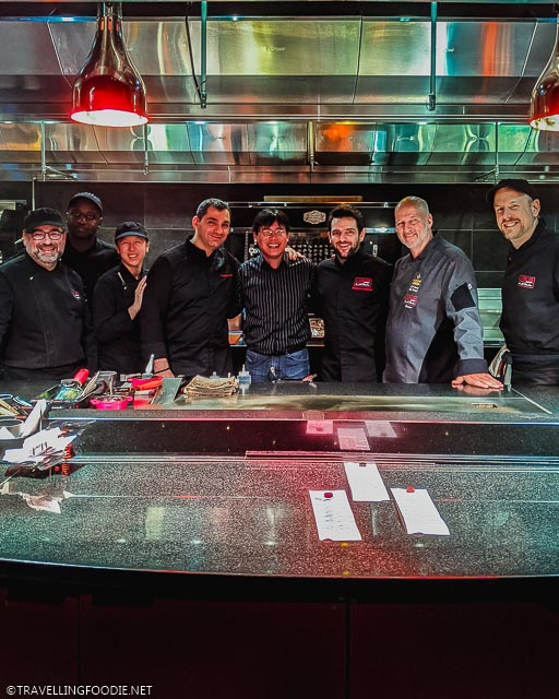 Christophe Bellanca, Raymond Cua, Stephane Galibert and Jean-Pierre Curtat in the kitchen of L'Atelier de Joel Robuchon in Casino de Montreal