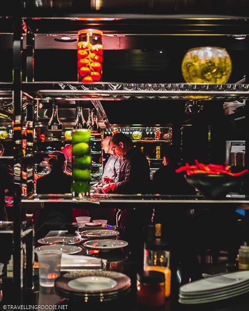 Chef Christophe Bellanca in the Kitchen at L'Atelier de Joel Robuchon in Montreal, Quebec