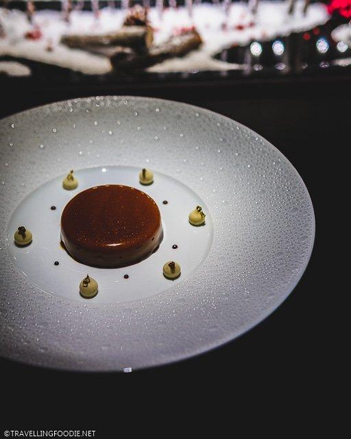 Cashew and Caramel Mousse Dessert at L'Atelier de Joel Robuchon for Montreal en Lumiere 2020 Tasting Menu