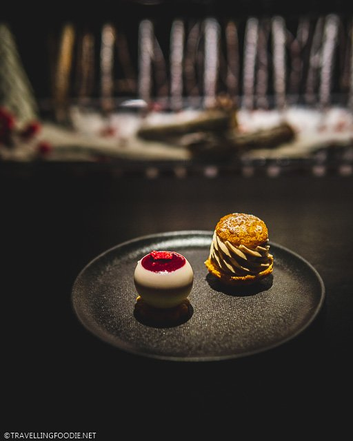 Raspberry Cheesecake Ball and Hazelnut Cream Puff at L'Atelier de Joel Robuchon for Montreal en Lumiere 2020 Tasting Menu