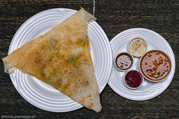 Masala Dosa with Sauces at Maison Perumal in Pondicherry, India