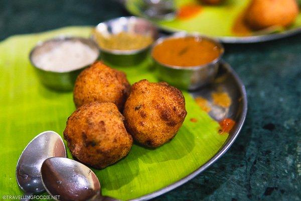 Bonda (बोंडा) at New Prakash Bhavan Pure Vegetarian Restaurant in Chennai, India