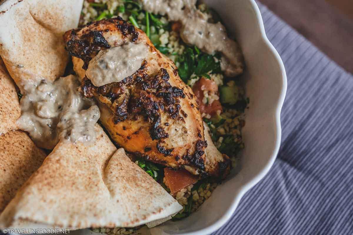 Air Fried Chicken, Warm Pita, Tabouli and Baba Ganoush