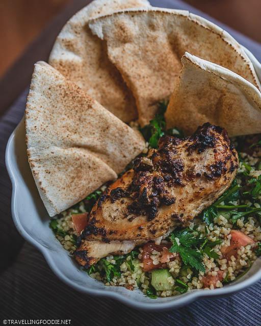 Chicken Mezze Platter with Baba Ghanoush over Tabbouleh
