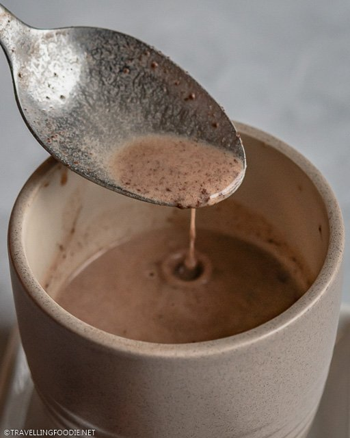 Close-up of pouring Filipino hot chocolate