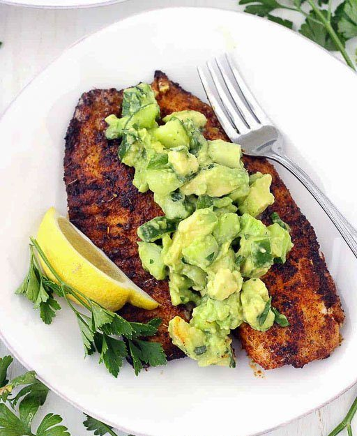 Blackened Tilapia with Avocado Cucumber Salsa