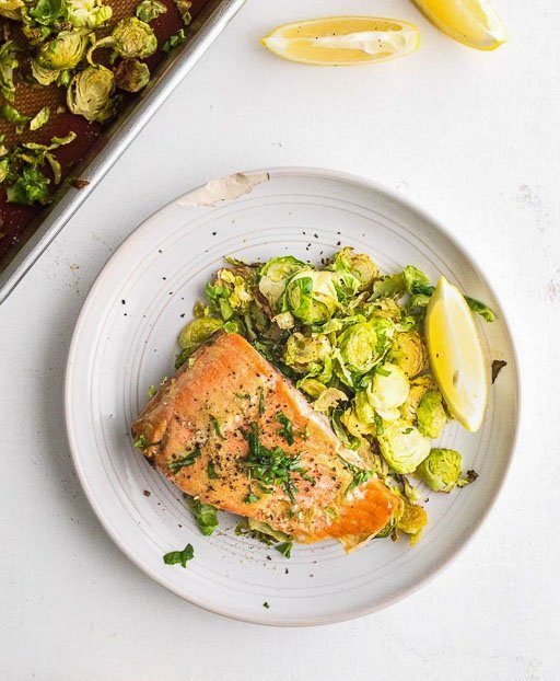 Maple Mustard Salmon with Brussels Sprouts