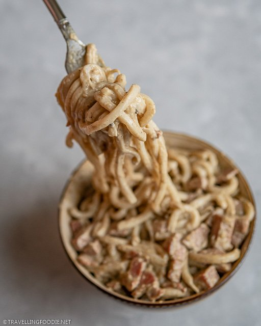 Thai Curry Udon wrapped in a Fork