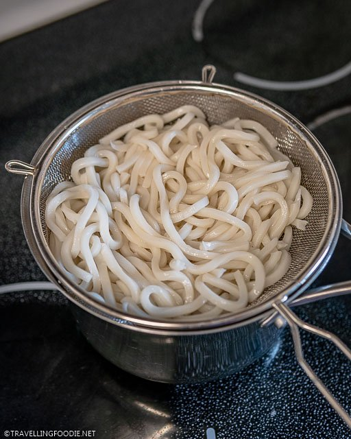 Cooked Udon Noodles on top of the pot