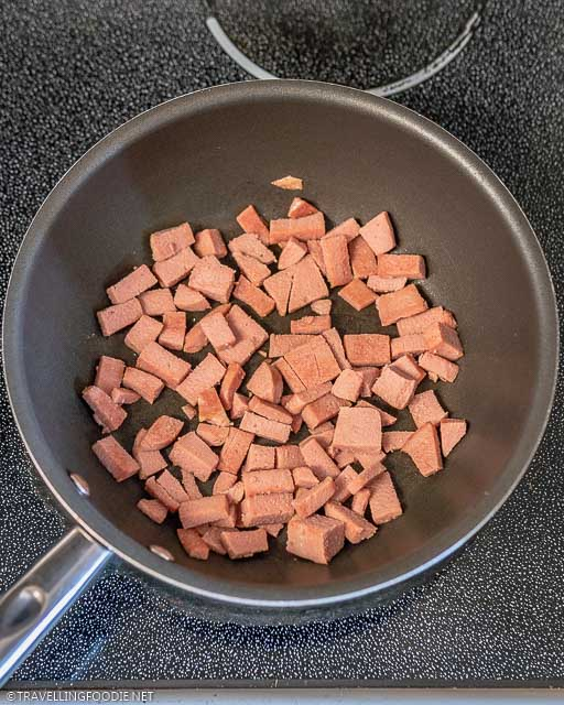 Cooked Spam on Pan