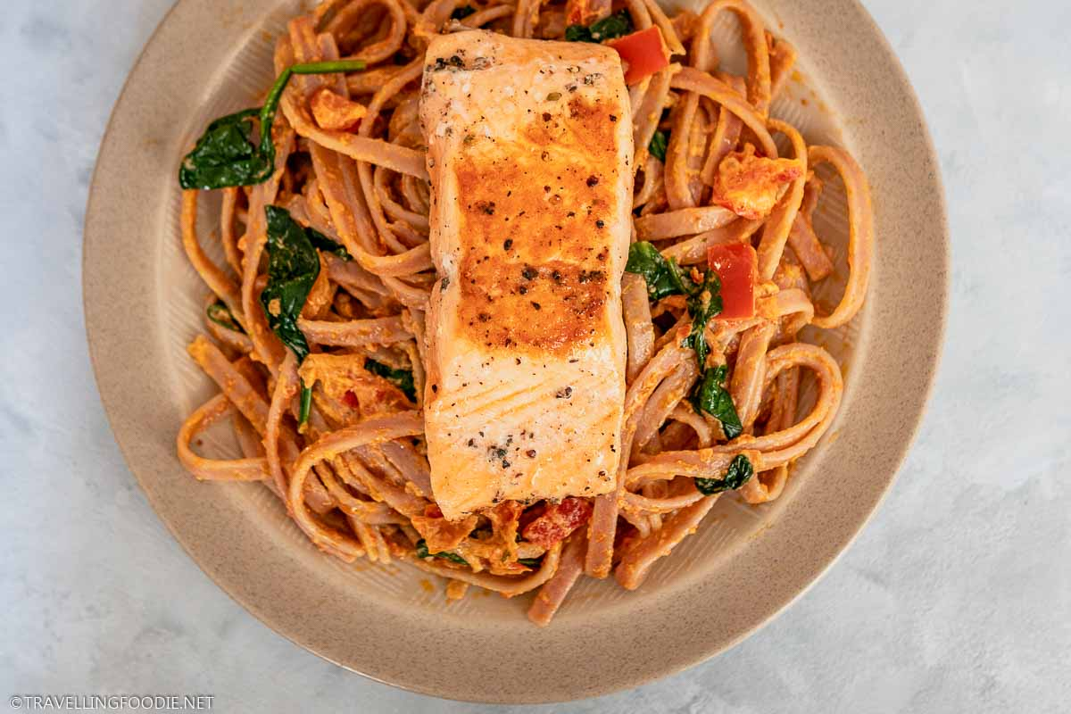 Sun Dried Tomato Pesto and Pan-Seared Salmon Tagliatelle with Homemade Creamy Tomato Sauce