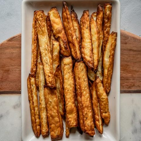 French Fries Air Fried on a Rectangular Plate