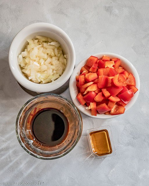 Diced Onions, Diced Tomatoes, Soy Sauce and Honey