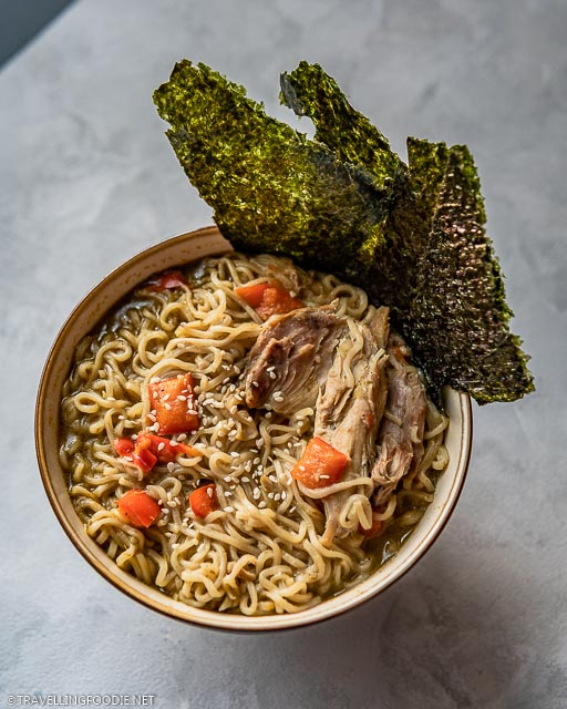 Instant Pot Thai Curry Chicken Noodle Soup with Sesame Seeds and Seaweed