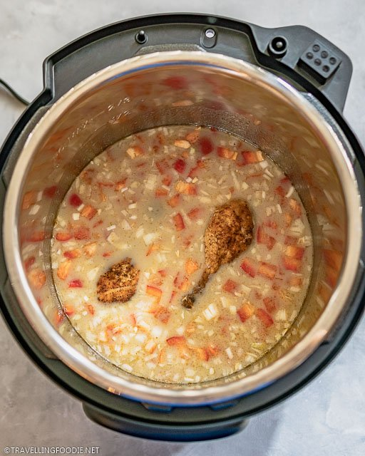 Chicken Legs, Tomatoes and Onions on Thai Green Curry Broth on Instant Pot