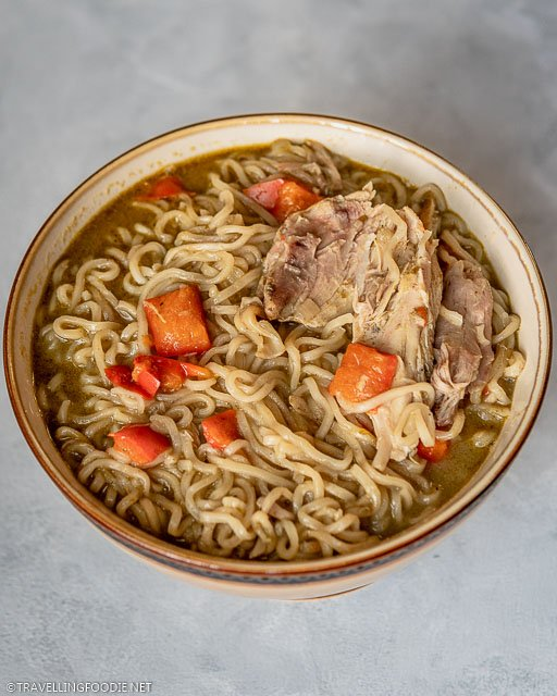 Thai Green Curry Chicken Noodle Soup in Bowl