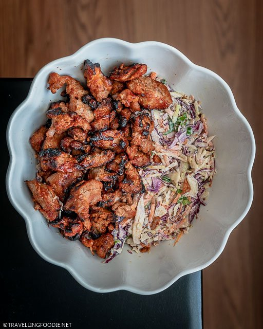Barbecue Pork Tenderloin with Coleslaw on the table