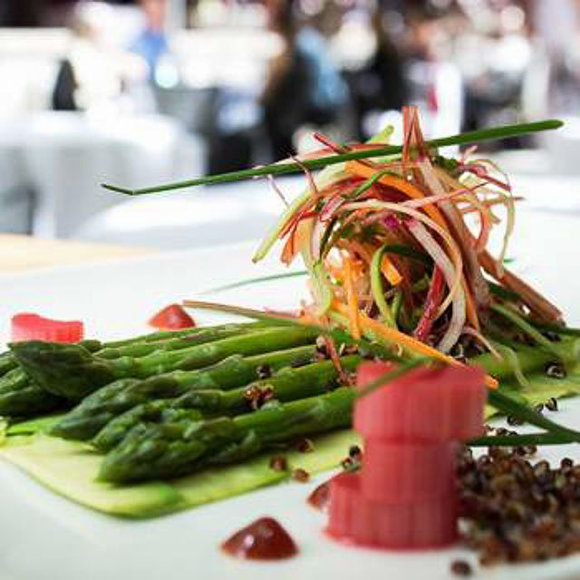 George Restaurant Asparagus, Avocado, Rhubarb in Downtown Toronto