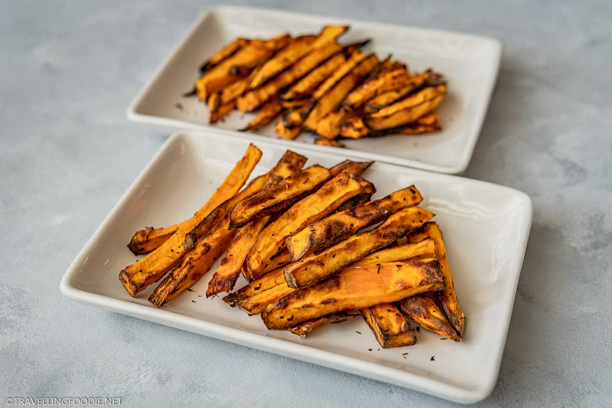 Two Plates of Air Fryer Sweet Potato Fries