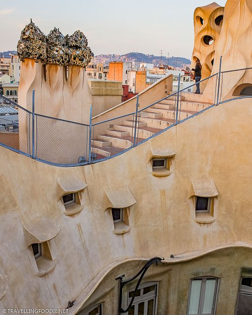 Curved roof-terrace at La Pedrera in Barcelona