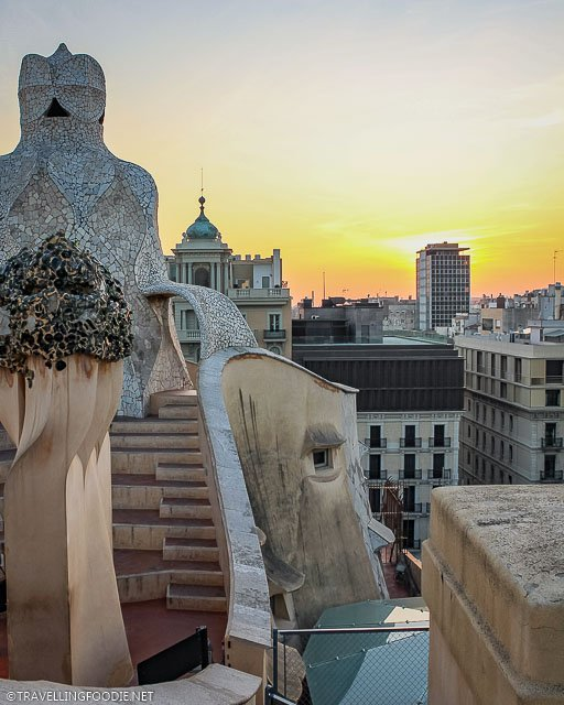 Sunset view at the Casa Mila on curved roof top terrace
