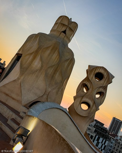 Chimneys and Ventilation tower at Casa Mila in sunset